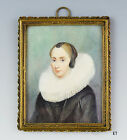 mid/late 1800s Framed Portrait of a Woman in Dutch Dress