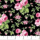 SWEET JANE ROSES ON BLACK FABRIC NORTHCOTT