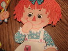 +SMALL RAGGEDY ANN AND ANDY WALL ART BOBBS MERRILL CO 1976 VINTAGE FREE SHIP