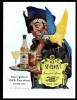 1943 Old St. Croix rum pirate with blue and gold macaw parrot vintage print ad