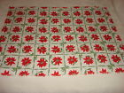 Vintage CHRISTMAS TABLECLOTH PoinsettiaRibbons Fringed Edge 33x44