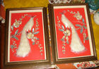 VTG JAPAN FRAMED SHELL PEACOCK SHADOW BOX PICTURE SET ETCHED HOLDER COASTER LOT