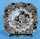 Spode Poppy Square Plate Salad Luncheon British Flowers Fancy England Pink Brown