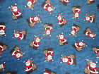 3 2/3 yds CHRISTMAS FABRIC SANTA & REINDEER ON BLUE BACKGROUND 100% COTTON
