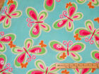 Teal Rainbow Butterfly Fleece Fabric by the Yard BTY