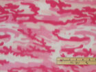 Pink  White Camouflage Camo Fleece Fabric by the Yard BTY