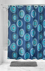 LUXURY FABRIC SHOWER CURTAIN, PRINTED STRIPED GREEN & BLUE