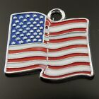 20pcs Colorful Alloy Enamel American Flag Stars and Stripes Pendant Charms