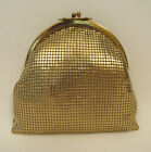 VINTAGE 1940s 50s WHITING & DAVIS GOLDEN METAL MESH HANDBAG BRASS FRAME