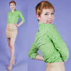 SUPER CUTE Vtg 60s Grass Green Peridot Print Mod Button-Down Blouse XS/S