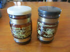 Vintage Brown Glass Salt & Pepper Shakers With Wooden Handles & Metal Straps
