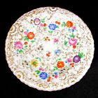 Antique MEISSEN FLORAL Plate Porcelain 19th C Hand Painted Flowers Gold Gilt #3