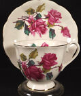 Royal Albert Bone China Pink Roses Cup Saucer Scalloped Edge England Gold Trim