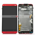Full Touch Digitizer+LCD Display Assembly+Frame For HTC One M7 M801e Red