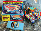 Wind Up Turn Action Space Ship Tin Toy with Car Classic 1980s Toy Made in Korea