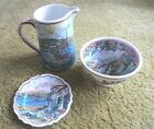 Vtg HAND PAINTED Pottery PITCHER BOWL & PLATE FLORAL WATERFRONT Signed GH GREECE