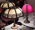 Antique c1920's Decorative Lamp Red Stained Glass Shade Classical Floral Base