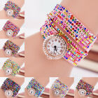 1PC Woman Multilayers Colorful Rhinestone Crystal Quartz Bracelet Watch Cheap