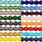 50 Transparent Czech Glass Round Faceted Fire Polished Beads In Sizes Small Big