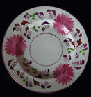 ANTIQUE EARLY ENGLISH STAFFORDSHIRE POTTERY FLOW PINK LUSTER PLATE DISH 1800s