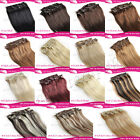 """Clips In 100% Real Human Hair Extensions 15""""18""""20"""" 7Pcs/Set"""