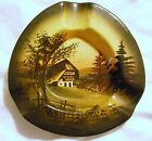 Vintage 1960's MAJOLIKA SCHRAMBERG HAND PAINTED ASHTRAY WITH RURAL HOUSE #2 (LT)