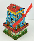 Vintage 1950's Japan Cragstan Wind Mill Mechanical Toy, Tin Litho Coin Bank