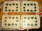 VTG UNUSED ESTATE FRENCH SHABBY COTTAGE IVY SOCIAL SUPPER SNACK TRAY COASTER SET