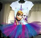 New   Custom.  DISNEY FROZEN   Anna &  Elsa on white  tutu dress  size 7/8