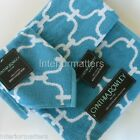 CYNTHIA ROWLEY 3PC BATH TOWEL SET QUATREFOIL Aqua Blue White COTTON New