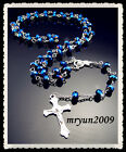 FREE Prayer Rosary INRI Blue AB Crystal beads cross pendant Beaded Necklace 31""