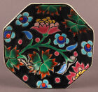 Small Art Deco French Longwy Pottery Enamel Hexagonal Plate Dish with Flowers