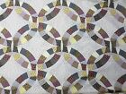 Cheater Quilt Panel double wedding ring fabric 90x180 - 5 yd dots plaid floral