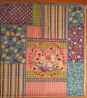 AN EASTER BUNNIES AND EGGS HOLIDAY COTTON QUILTING FABRIC PANEL