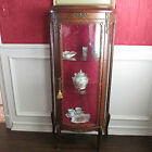 A GILT METAL-MOUNTED D-FRONTED VITRINE IN LOUIS XV STYLE, 56X26X11 INCHES