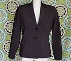*Larry Levine* brown checked rayon blazer sexy two button cropped jacket 10P