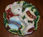FITZ & FLOYD Essentials KITTY CAT w/ Christmas Tree Bulbs 3D Wall Hanging Plate