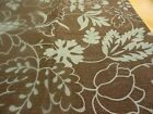 new dusty brown Teal Blue Outlined Leaves & Flowers  Fabric~SHOWER CURTAIN