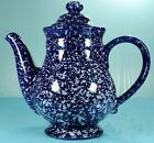WESTERN STONEWARE CO. MONMOUTH, IL. COBALT BLUE SPATTERWARE COFFEEPOT W/LID