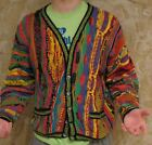 Coogi Australia Multi-Color Vintage Geometric Cotton Cosby Cardigan Sweater S
