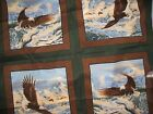 Eagles Flying Pillow panel cotton  Fabric 2 yds Green brown 8 tops Winter Flight