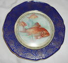 ANTIQUE CABINET PLATE P.T.BAVARIA GOLD FISH COBALT BLUE WITH GOLD ACCENT
