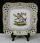 Antique Dresden Herend Type Hand-Painted Porcelain Reticulated Bowl w/ Birds