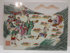 Vintage Hand Painted Asian Porcelain Tile Art Signed Chinese 9 x 12