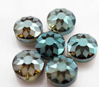 NEW 5pcs Faceted Sunflower Pattern Round Glass Crystal Beads 14mm B127
