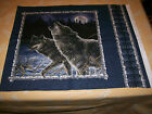 A WOLVES IN A SNOWY FOREST COTTON QUILTING FABRIC PANEL BY HAUTMAN