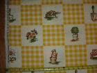 GARDENING YELLOW 2 1/4 YDS VTG BLOOMCRAFT SCREEN PRINT COTTON FABRIC 55