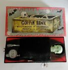 VINTAGE COFFIN BANK WIND-UP TIN TOY JAPAN WITH BOX YONE
