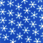 Christmas Joy White Snow Flakes Blue Cotton fabric Quilt Blank Quilting Winter