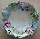 Antique Victorian Lace Edge Plate Handpainted Pink Red Roses Germany Green Old